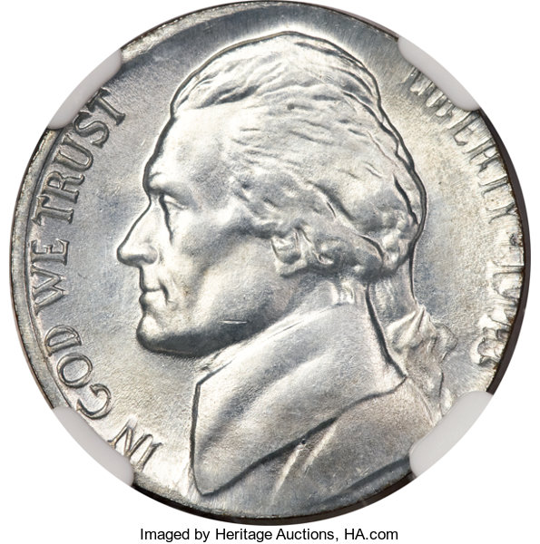 1943-S 5C Jefferson Nickel--Struck on a Steel Cent Planchet--MS66