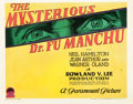 "Movie Posters:Horror, The Mysterious Dr. Fu Manchu (Paramount, 1929). Title Lobby Card(11"" X 14"").. ..."