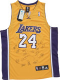 Basketball Collectibles:Uniforms, 2009-10 Los Angeles Lakers Team Signed Jersey....