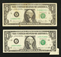 Error Notes:Error Group Lots, Two $1 Federal Reserve Note Star Errors. Very Fine.. ... (Total: 2notes)