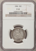 Seated Quarters: , 1884 25C Fine 12 NGC. NGC Census: (1/75). PCGS Population (1/103).Mintage: 8,000. Numismedia Wsl. Price for problem free N...