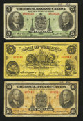 Canadian Currency: , Three Chartered Canadian Bank Notes.. ... (Total: 3 notes)