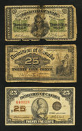 Canadian Currency: , Three Piece 25¢ Fractional Type Set.. ... (Total: 3 notes)