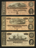 Confederate Notes:1864 Issues, Three Different 1864 Notes Very Fine+ or Better.. ... (Total: 3 notes)