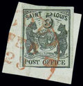 Stamps, (11X1) St. Louis, Mo., 1845, 5¢ black on greenish...