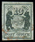 Stamps, (11X5) St. Louis, Mo., 1846, 10¢ black on gray lilac...