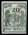 Stamps, (11X6) St. Louis, Mo., 1846, 20¢ black on gray lilac...