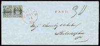 (11X6, 11X5) St. Louis, Mo., 1846, 20¢ and 10¢ black on gray lilac
