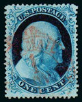 Stamps, (21) 1857, 1¢ blue, type III...