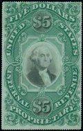 Stamps, (RB10) Proprietary, 1873, $5 green & black...