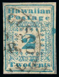 "Stamps, (1) Hawaii, 1851-52, 2¢ blue ""Missionary""..."