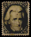 Stamps, (73E) 1862, 2¢ Black essay...