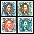 "Stamps, (123TC-132TC) 1869 (1875 Re-issue), 1¢-90¢ complete, ""Atlanta"" trial color plate proofs on card..."