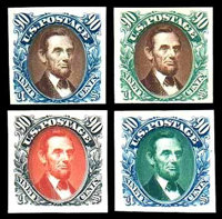 "(123TC-132TC) 1869 (1875 Re-issue), 1¢-90¢ complete, ""Atlanta"" trial color plate proofs on card"
