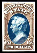 """Stamps, (O68TC) State Dept., 1873, $2 brown & blue, """"Atlanta"""" trial color plate proof on card..."""