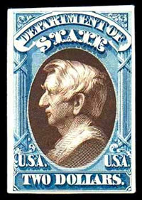 "(O68TC) State Dept., 1873, $2 blue & brown, ""Atlanta"" trial color plate proof on card"
