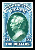 "Stamps, (O68TC) State Dept., 1873, $2 blue & green, ""Atlanta"" trial color plate proof on card..."