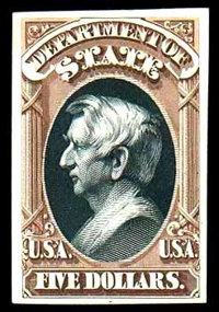 "(O69TC) State Dept., 1873, $5 brown & black, ""Atlanta"" trial color plate proof on card"