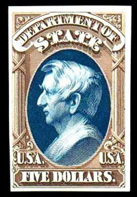 "(O69TC) State Dept., 1873, $5 brown & blue, ""Atlanta"" trial color plate proof on card"