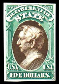 "(O69TC) State Dept., 1873, $5 green & brown, ""Atlanta"" trial color plate proof on card"