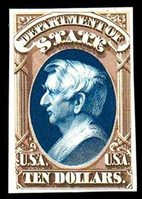 """(O70TC) State Dept., 1873, $10 brown & blue, """"Atlanta"""" trial color plate proof on card"""