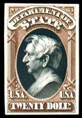 """Stamps, (O71TC) State Dept., 1873, $20 brown & black, """"Atlanta"""" trial color plate proof on card..."""