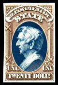 "Stamps, (O71TC) State Dept., 1873, $20 brown & blue, ""Atlanta"" trial color plate proof on card..."