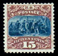 Stamps, (129) 1869 (1875 Re-issue), 15¢ brown & blue...