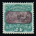 Stamps, (130) 1869 (1875 Re-issue), 24¢ green & violet...