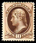 Stamps, (187) 1879, 10¢ brown, without secret mark...