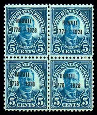 (648) 1928, 5¢ Hawaii, counterfeit overprints