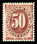 Stamps, (J21) Postage Due, 1884, 50¢ red brown...
