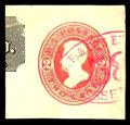 Stamps, (U154) 1876, 2¢ vermilion on amber, die 7...
