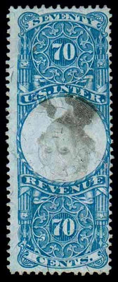 (R117a) Revenue, 1871 Second Issue, 70¢ blue & black, center inverted