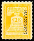 Stamps, (RV18-29) Motor Vehicle Use, 1943-44, $5-42¢ yellow...