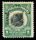 Stamps, (46b) Canal Zone, 1915, 1c green & black, double overprint...