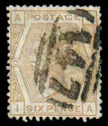 Stamps, (63) Great Britain, 1873, 6d pale buff...