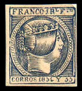 """Stamps, (4c) Philippines, 1854, 1r blue, """"CORROS"""" variety..."""