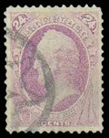 Stamps, (142) 1870, 24¢ purple, grilled...
