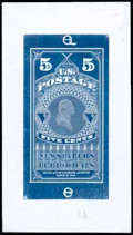 Stamps, (PR1E) Newspaper, 1865, 5¢ large die essay, in blue on wove...