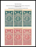 Stamps, (PR2TCP3-PR4TCP3) Newspapers, 1865, 5¢-25¢ trial color plate proofs on wove...