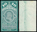 Stamps, (PR6a) Newspaper, 1875 Reprint of 1865 issue, 10¢ dark bluish green, printed on both sides...