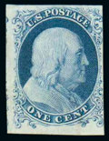 Stamps, (6) 1851, 1¢ blue, type Ia...