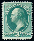 Stamps, (194) 1880 Special Printing, 3¢ blue green...