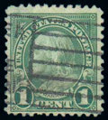 Stamps, (594) 1923, 1¢ green, rotary coil waste...