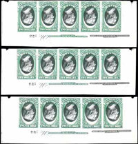 (O68aP4, O69aP4, O71aP4) State Dept., 1873, $2, $5 and $20 high values, centers inverted, plate proofs on card