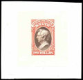 """Stamps, (O68TC) State Dept., 1873, $2 scarlet & brown, """"Goodall"""" trial color small die proof on India..."""