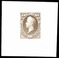 """Stamps, (O72TC-O82TC) Treasury Dept., 1873, 1¢-90¢ complete, """"Goodall"""" trial color small die proofs on India..."""