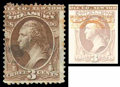 Stamps, (O74a) Treasury Dept., 1873, 3¢ dark brown, double impression...