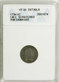 Early Half Dimes: , 1794 H10C --Rim Damaged, Scratched--ANACS. VF20 Details. LM-3. NGCCensus: (6/113). PCGS Population (11/124). Mintage: 7,700...